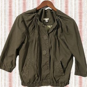 50%OFF Anthro Army Green Pull Collar Button Jacket